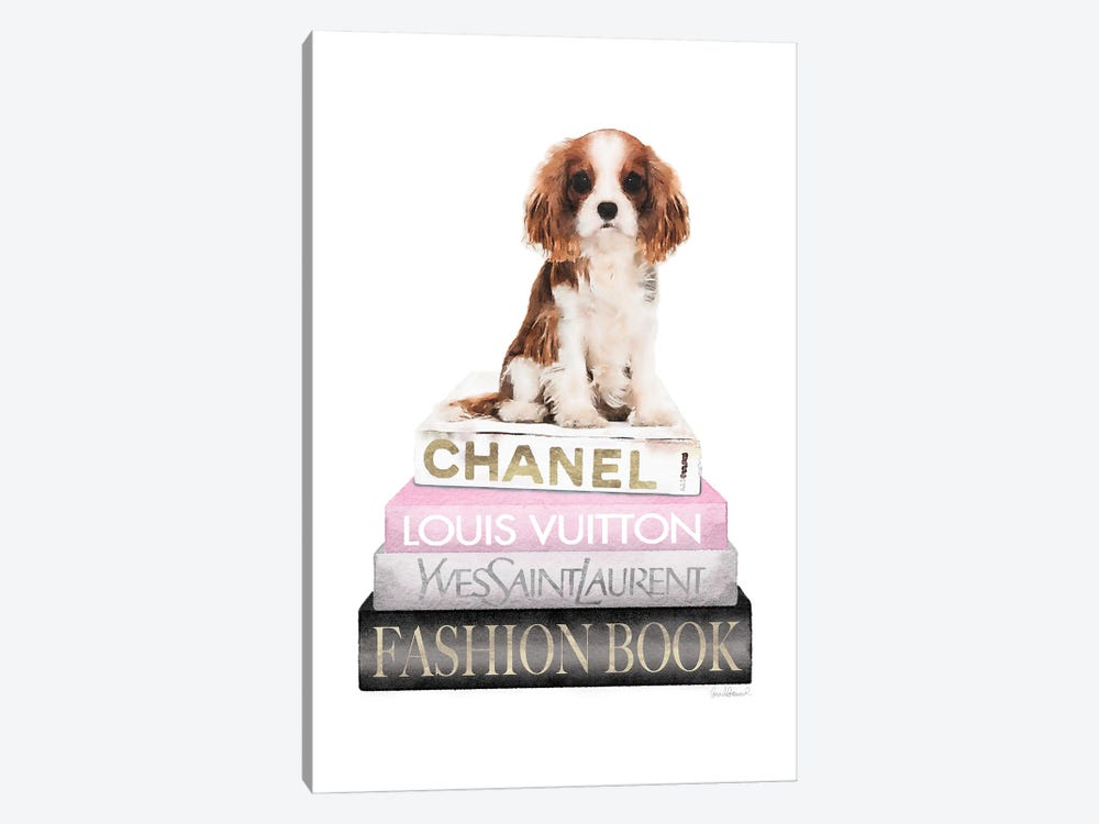 New Books Grey Blush With King Charles Puppy by Amanda Greenwood 1-piece Canvas Artwork