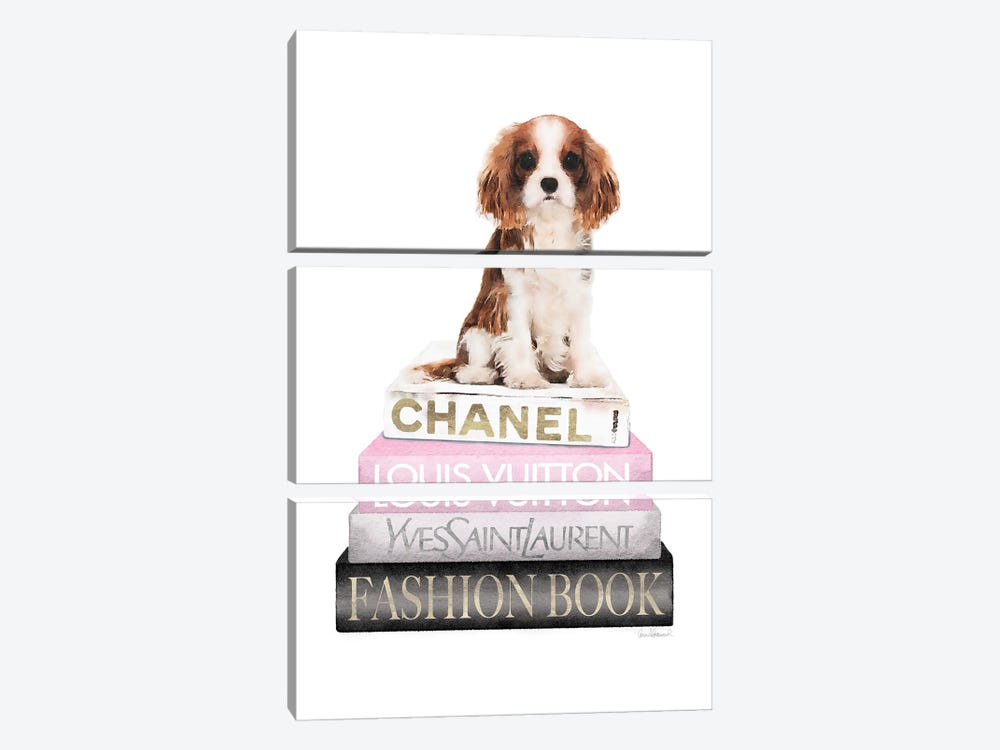 New Books Grey Blush With King Charles Puppy by Amanda Greenwood 3-piece Canvas Artwork