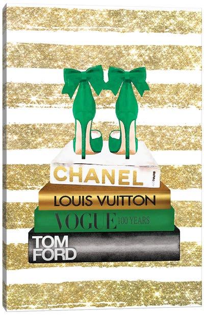 New Books Grey Emerald Green, Bow Shoes, Glitter Stripe Canvas Art Print