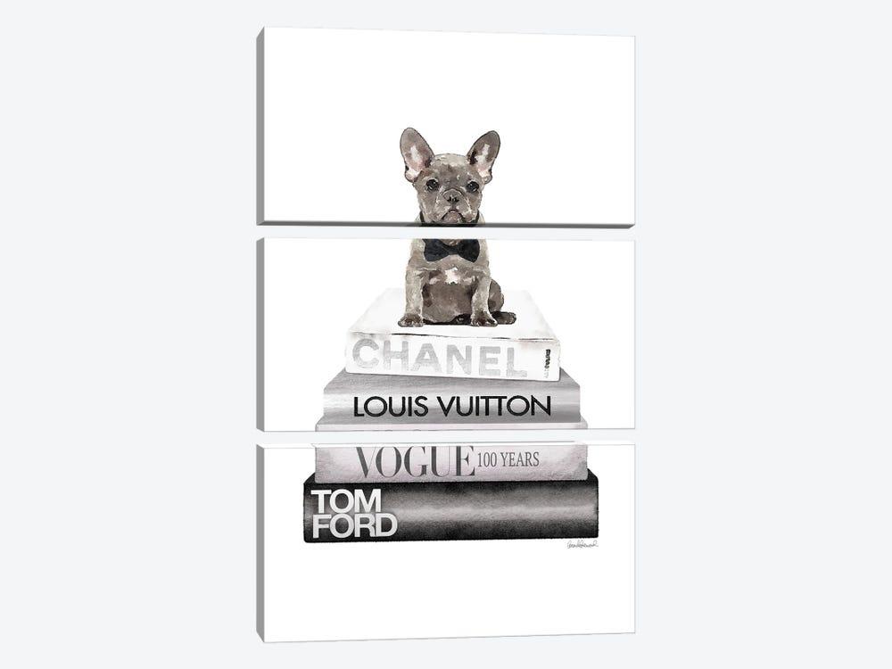 New Books Silver Grey Frenchie Bow Tie by Amanda Greenwood 3-piece Canvas Print