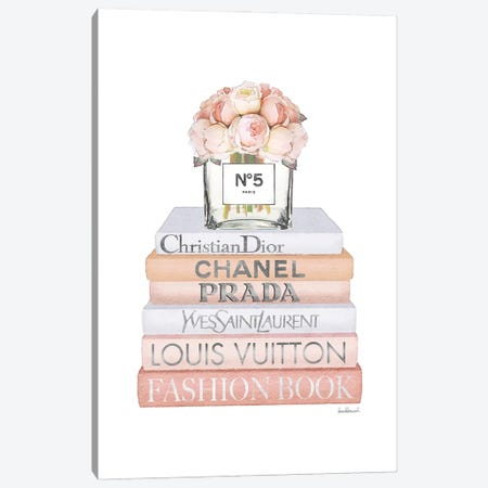 Peach Fashion Books With Peach Roses Canvas Print #GRE509} by Amanda Greenwood Canvas Wall Art