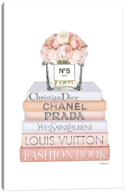 Peach Fashion Books With Peach Roses Canvas Art Print