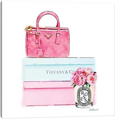 Pink Bag On Shoes Box Canvas Art Print