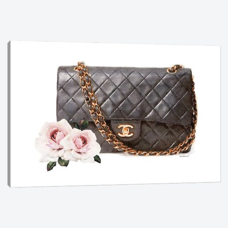 Quilted Bag With Roses Canvas Print #GRE517} by Amanda Greenwood Canvas Art