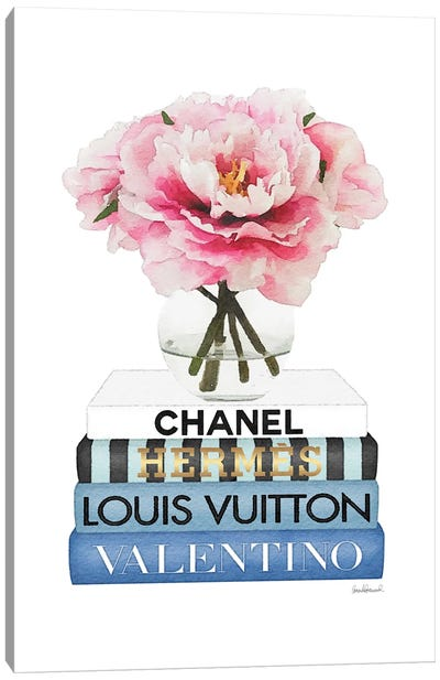 Short Book Stack With Stripe, Peony In Round Vase Canvas Art Print