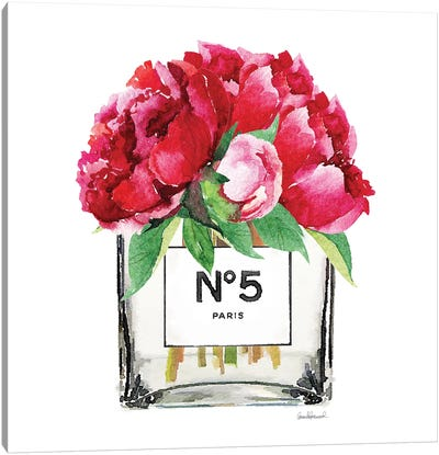 No. 5 Vase With Deep Pink Peonies Canvas Print #GRE51