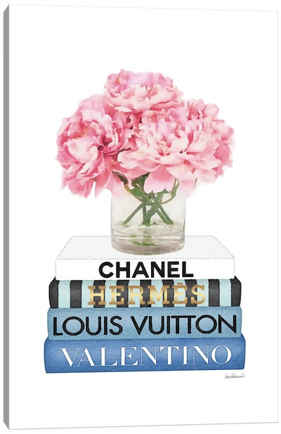 Short Book Stack With Stripe, Peony In Vase Canvas Art Print