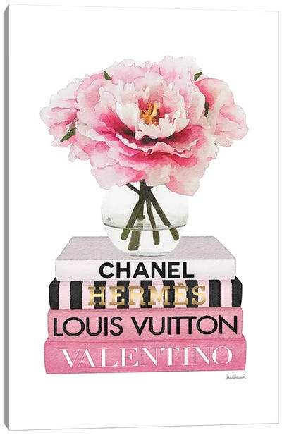 Short Pink Book Stack With Stripe, Peony In Round Vase Canvas Art Print