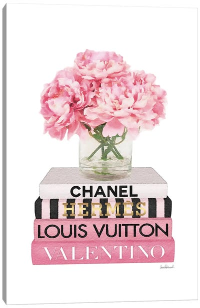 Short Pink Book Stack With Stripe, Peony In Vase Canvas Art Print