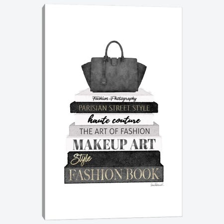 Tall Black And Grey Fashion Books With Bag Canvas Print #GRE525} by Amanda Greenwood Art Print