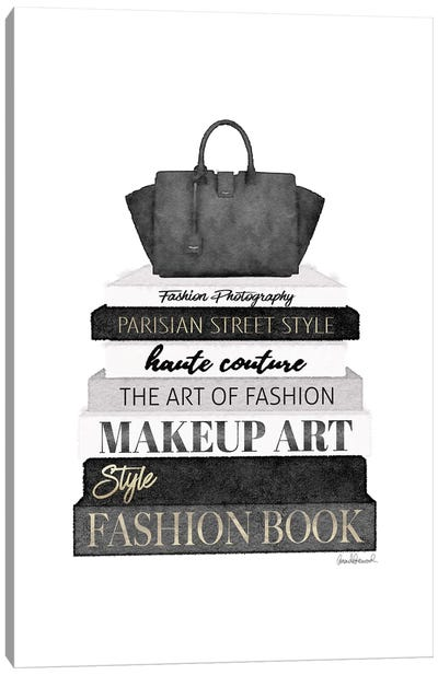 Tall Black And Grey Fashion Books With Bag Canvas Art Print