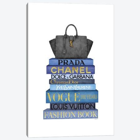 Tall Blue Books, Black Bag Canvas Print #GRE526} by Amanda Greenwood Canvas Print