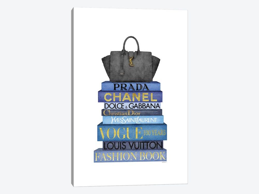 Tall Blue Books, Black Bag by Amanda Greenwood 1-piece Canvas Print