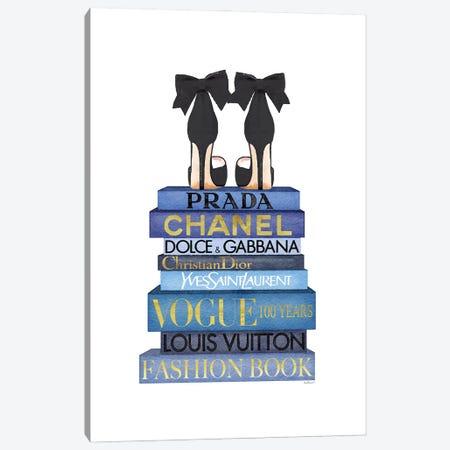 Tall Blue Books, Black Shoes Canvas Print #GRE527} by Amanda Greenwood Art Print