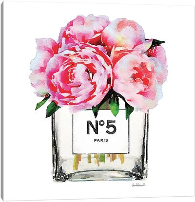 No. 5 Vase With Pink Peonies Canvas Print #GRE52
