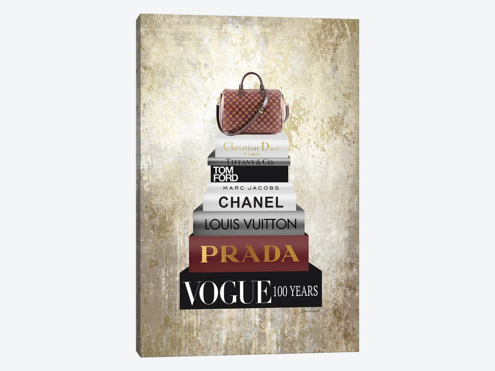 Tall Book Stack With Brown Bag & Gold Background by Amanda Greenwood 1-piece Canvas Wall Art