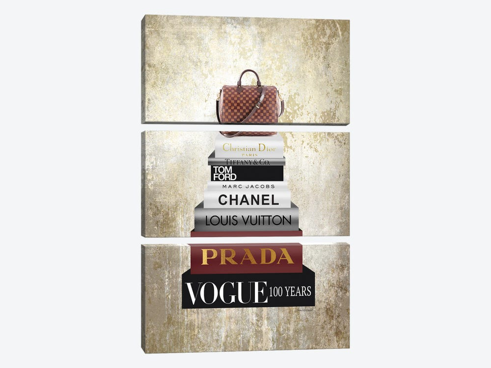 Tall Book Stack With Brown Bag & Gold Background by Amanda Greenwood 3-piece Canvas Art