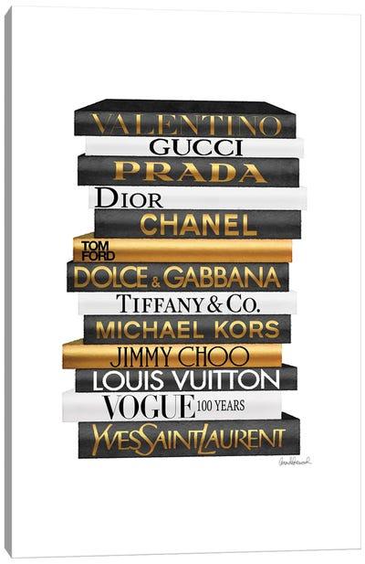 Tall Fashion Books Black And Gold Canvas Art Print