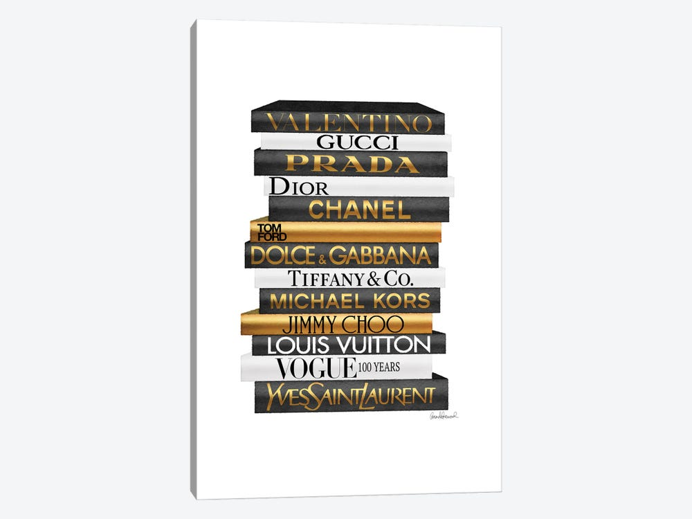 Tall Fashion Books Black And Gold by Amanda Greenwood 1-piece Canvas Artwork