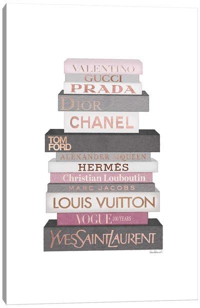 Tall Grey & Pink Fashion Books Canvas Art Print