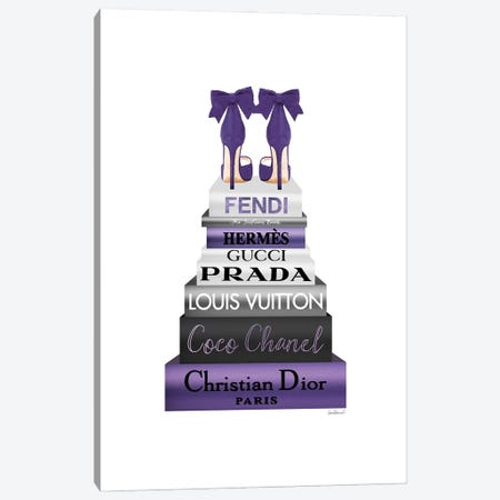Tall Metallic Stack Purple With Purple Bow Shoes Canvas Print #GRE536} by Amanda Greenwood Canvas Art