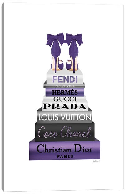 Tall Metallic Stack Purple With Purple Bow Shoes Canvas Art Print