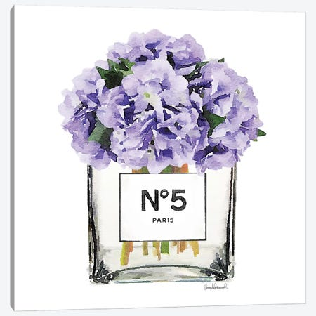 No. 5 Vase With Purple Hydrangeas Canvas Print #GRE53} by Amanda Greenwood Canvas Art Print