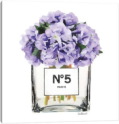 No. 5 Vase With Purple Hydrangeas Canvas Print #GRE53