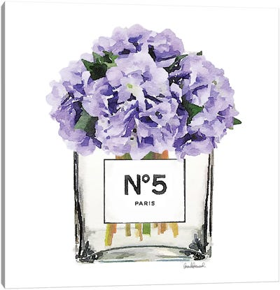 No. 5 Vase With Purple Hydrangeas Canvas Art Print