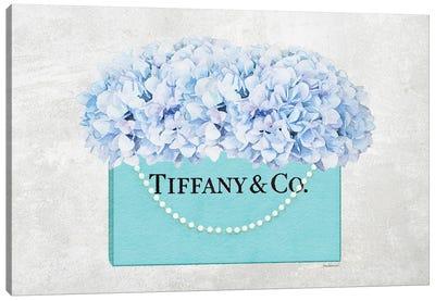 Teal Blue Shopper Pearl Handle Blue Hydrangeas Textured Canvas Art Print