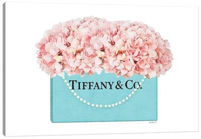 Teal Blue Shopper Pearl Handle Peach Hydrangeas Canvas Art Print