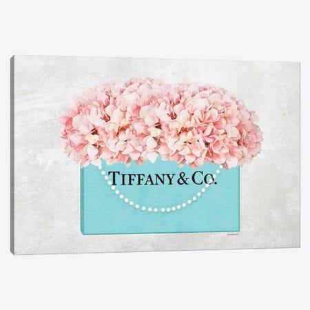 Teal Blue Shopper Pearl Handle Peach Hydrangeas Textured Canvas Print #GRE544} by Amanda Greenwood Canvas Art Print