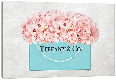 Teal Blue Shopper Pearl Handle Peach Hydrangeas Textured Canvas Art Print