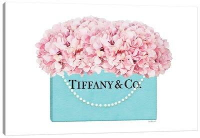 Teal Blue Shopper Pearl Handle Pink Hydrangeas Canvas Art Print