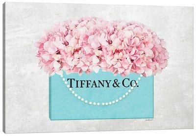 Teal Blue Shopper Pearl Handle Pink Hydrangeas Textured Canvas Art Print