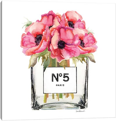 No. 5 Vase With Red Poppies Canvas Print #GRE54