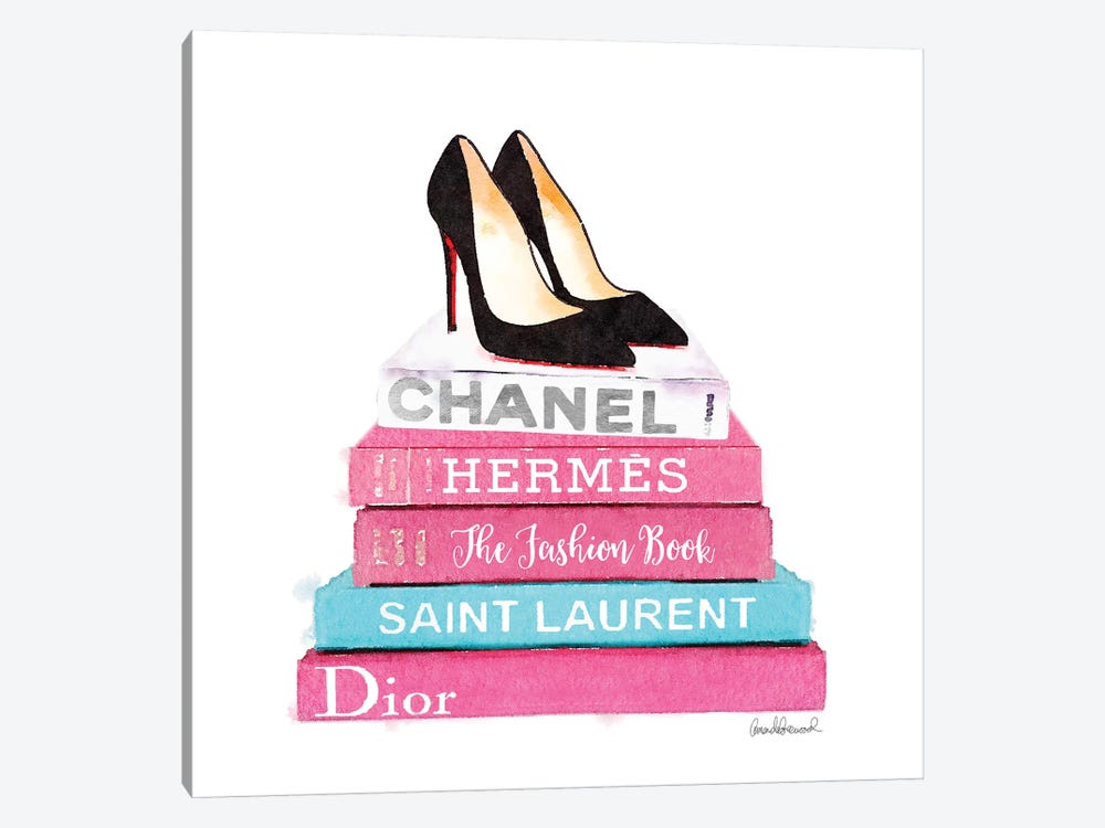 Pink And Teal Fashion Books With High Heel Shoes by Amanda Greenwood 1-piece Canvas Artwork