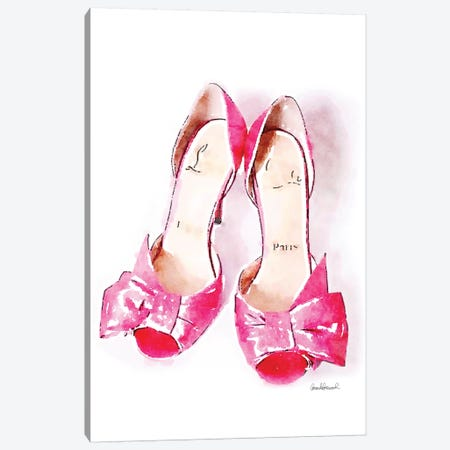 Pink Bowed Shoes Canvas Print #GRE57} by Amanda Greenwood Canvas Artwork