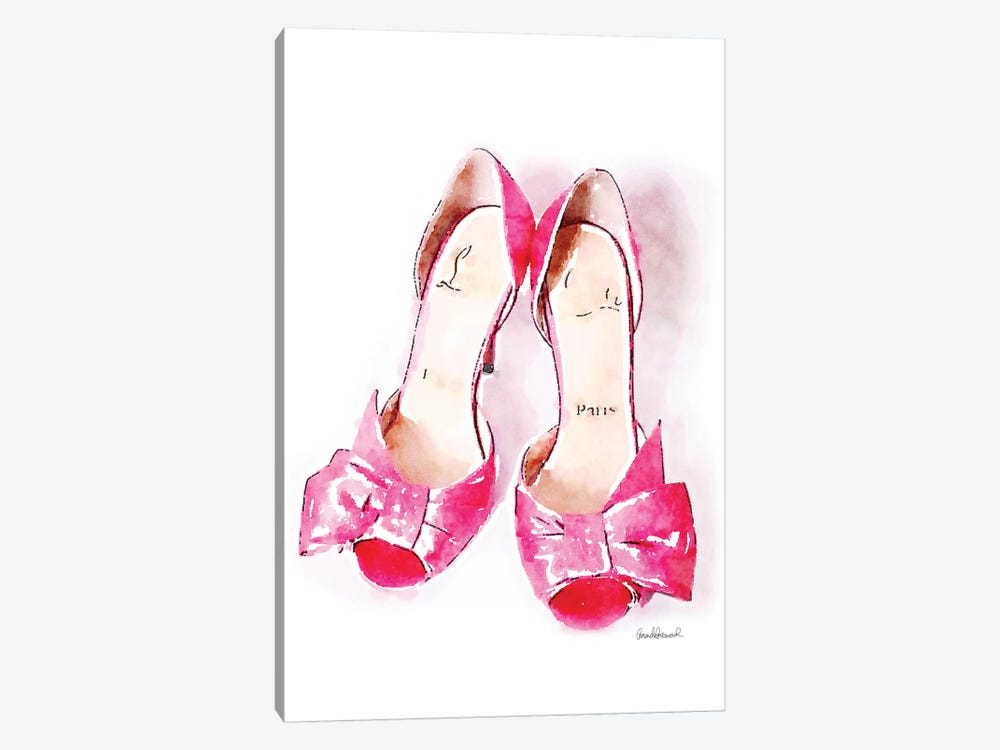 Pink Bowed Shoes by Amanda Greenwood 1-piece Canvas Art Print