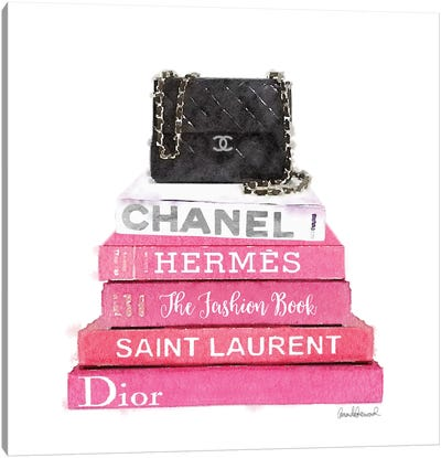 Pink Fashion Books With A Black Bag Canvas Print #GRE61