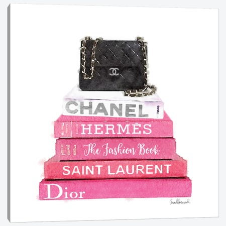 Pink Fashion Books With A Black Bag Canvas Print #GRE61} by Amanda Greenwood Canvas Wall Art