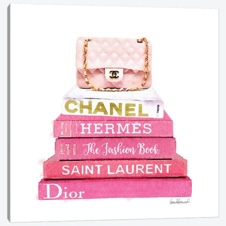 Pink Fashion Books With A Pink Bag Canvas Print #GRE62} by Amanda Greenwood Canvas Wall Art
