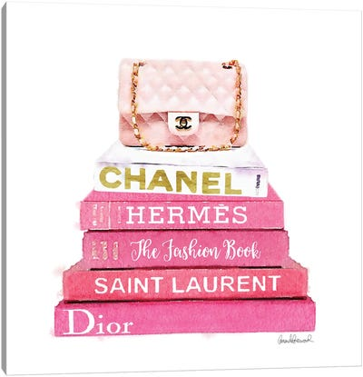 Pink Fashion Books With A Pink Bag Canvas Print #GRE62
