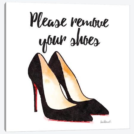 Please Remove Your Shoes, Square Canvas Print #GRE65} by Amanda Greenwood Canvas Print