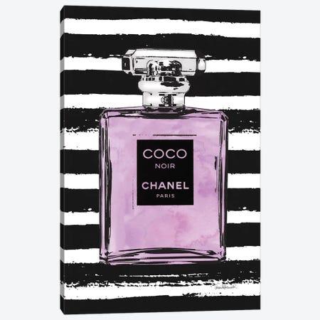 Purple Perfume On Black Stripes Canvas Print #GRE66} by Amanda Greenwood Canvas Print