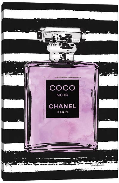 Purple Perfume On Black Stripes Canvas Art Print