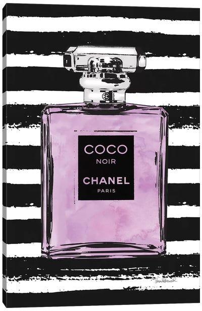 Purple Perfume On Black Stripes Canvas Art Print