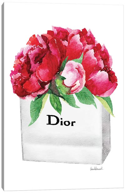 Small Fashion Shopping Bag With Deep Pink Peonies Canvas Print #GRE69