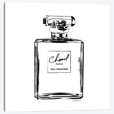 Black Perfume Bottle Canvas Print #GRE6} by Amanda Greenwood Canvas Art
