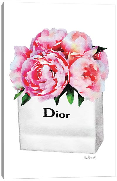 Small Fashion Shopping Bag With Pink Peonies Canvas Print #GRE70
